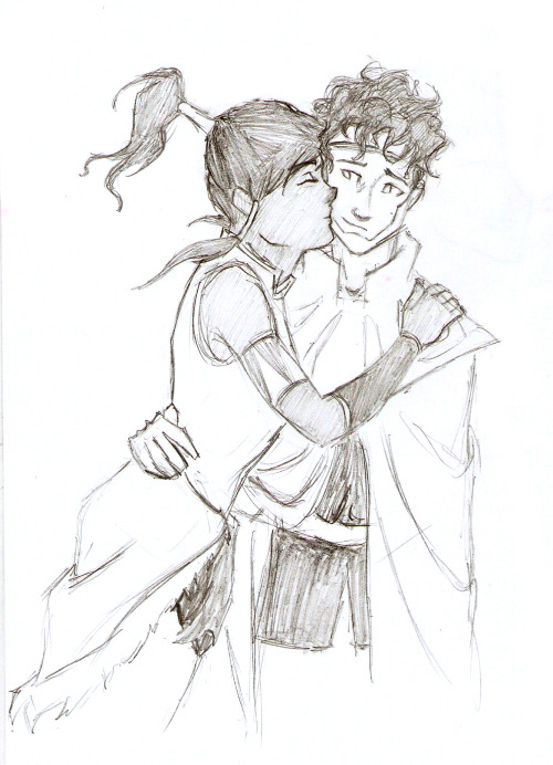 Wouldn't it be cute if Howl had a messy mop of curly hair, and Korra was always brushing it out of his eyes? Submitted by zizzani