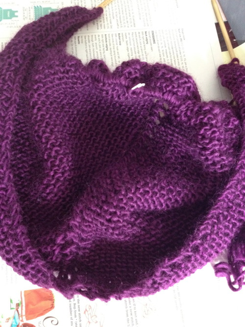 Day 3 progress! One lovely skein of Plum(ish) knitted, three more to go!