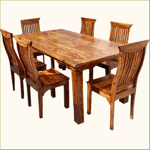 Our transitional Mediterranean Eco dining set that seats six people. The easy design of this set allows it to match any home decor. #Springtime Collection