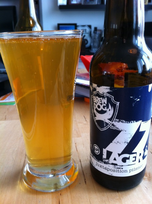 "ohthebeersyouwillhave:  77 lager ""juxtaposition pilsner"" Brewery: Brew Dog Type: lager alcohol: 4.9% Wow I usually hate beers like this. I am not a big fan of pilsners in general. I find them really bitter and hard to choke down, especially cheap ones. I bought this guy on a whim at a new supermarket in town. I liked the label and the text on the side, I won't lie that is the reason i grabbed it. But this is a really really smooth and clean pilsner. Hardly any bitter aftertaste and it just tastes fresh and delicious. I recommend this if you can get your hands on it, says unavailable on their website :("