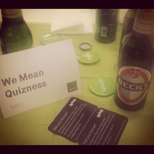 Spotify Music Quiz and Beers @MECsocial - this is how we roll :) (Taken with instagram)