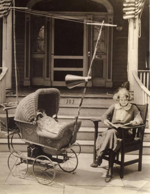 maudelynn:  Baby Entertainer! c.1921 (a pram with a radio and antenna attached)