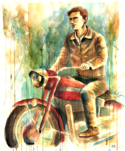 Finally I got this one finished. Benedict Cumberbatch riding a motorcycle from Miss Marple series painted with coffee and watercolors. 65 x 55 cm I'm happy how the colors came out and it was really fun painting with coffee.