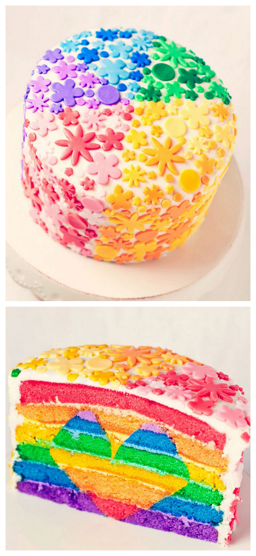 truebluemeandyou:  DIY Rainbow Heart Cake. What a labor of love - Fondant flowers and all! And if any of you brave souls would like to make this, there is a tutorial by Bakingdom here with lots more colorful gorgeous photos.  Holy Edible Color! Too cute cake!