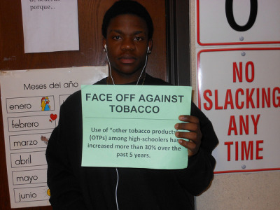 "FACE OFF AGAINST TOBACCO on Flickr.""Most high school students aren't even above 18 so who is giving them these products."""