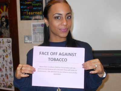 "FACE OFF AGAINST TOBACCO on Flickr.""Parents shouldn't smoke infront of thier children, this is one way kids become curious and want to try smoking."""
