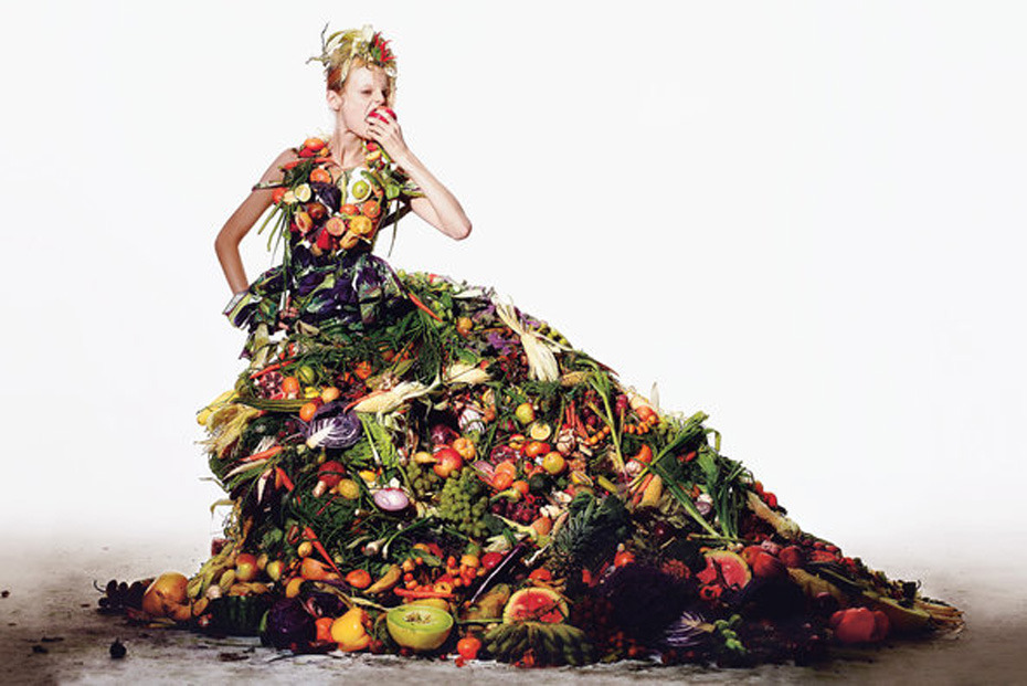 tmagazine:  With a little imagination, you can have your dress and eat it, too.  Wow! Food, fashion, and gardening collide in a truly surreal nod to Arcimboldo courtesy of T Magazine. ~AR