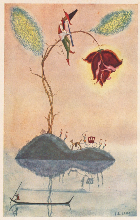 Illustration from the 1926 children's book King Ramu-ramu (ラムラム王) by Takeo Takei. via 50 Watts