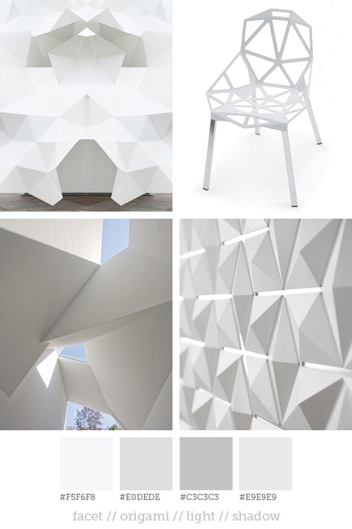 Style report #10 Facets and geometric rock shapes are increasingly seen in architecture and design. By using white, the shapes and three-dimensionality are more powerful. The shadows increases the from and the surfaces are matt and clean. Pictures: Pinterest // Magis // Pinterest // 3form  If you are aware of the original source of picture 1 and 3 please let me know!