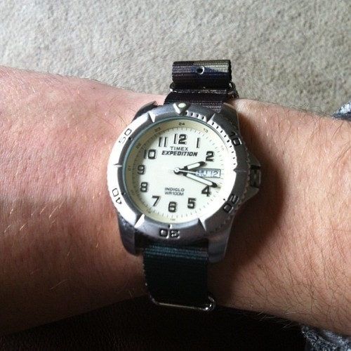 On that camo watch strap tip.  (Taken with instagram)