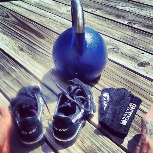phew… kettlebell long cycle sprints completed on the deck facing the ocean! i started to get a kettleguard farmer's tan and had to move to the shade! (Taken with instagram)