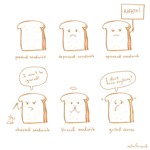 nprfreshair:  Happy National Grilled Cheese Day. [Wonderful Grilled Cheese Recipe from NPR] pressed sandwich (by fuffer)
