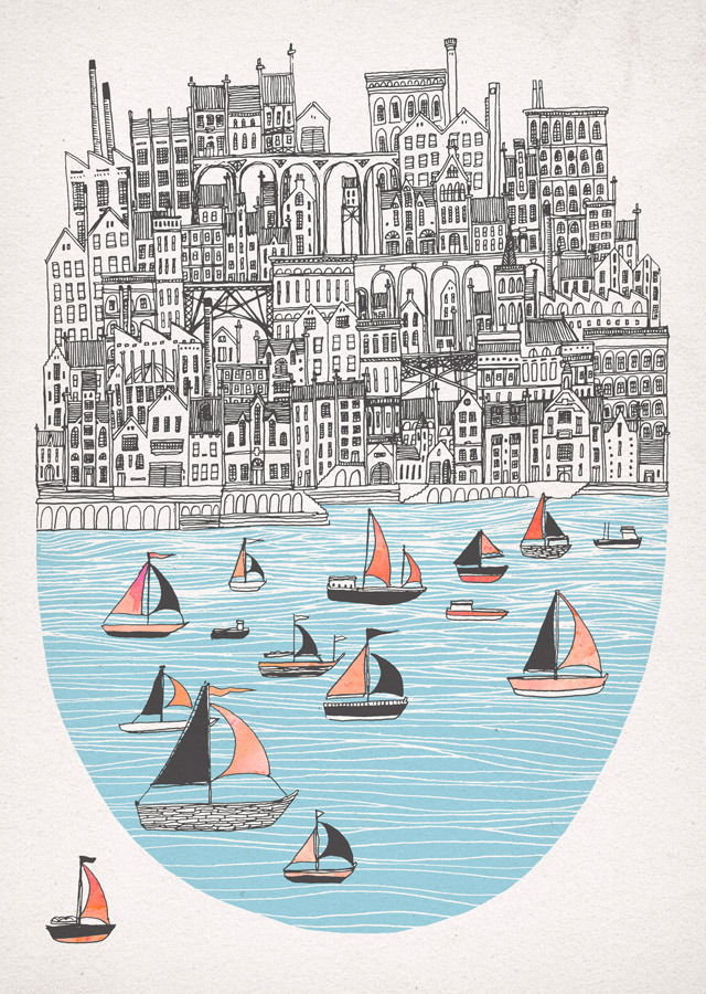 fleck-tesseract:  Joppa- New screen print  Limited edition of 50, 2 colour screen print with hand painted sails, on heavyweight Fabriano Rosaspina paper. Coming soon to my online print store.