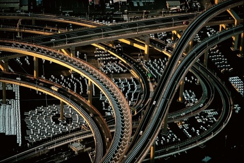Motorway interchange near the Yokohama port, Honshu, Japan (35°27' N, 139°41' E), by Yann Arthus-Betrand.