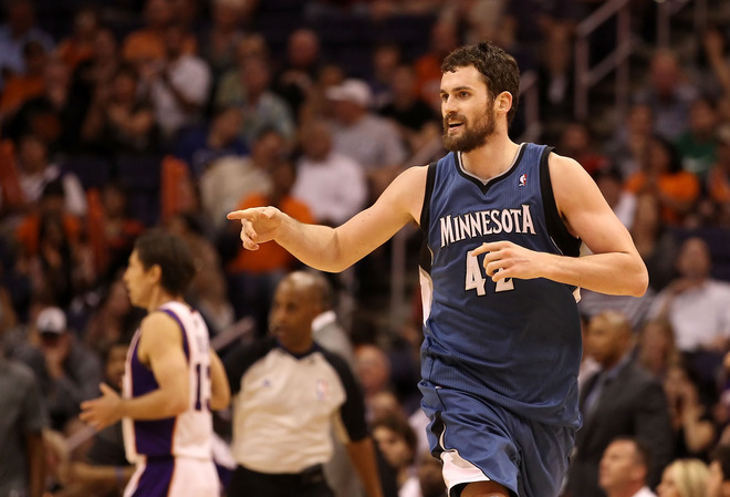 Kevin Love, one of our collective favorite players here at the blog suffered a mild concussion and neck strain after receiving a hit from JaVale McGee of Denver Nuggets last night.  Love spent the night in a Denver hospital as a precautionary measure and will most likely miss the game against the Clippers tonight.  Photo by Christian Petersen/Getty Images