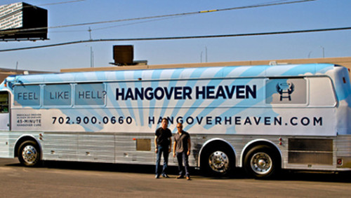 After-party bus cruises the Vegas strip offering hangover curesThe first self-proclaimed 'hangover specialist' in the U.S. is taking his show on the road on the Vegas strip.