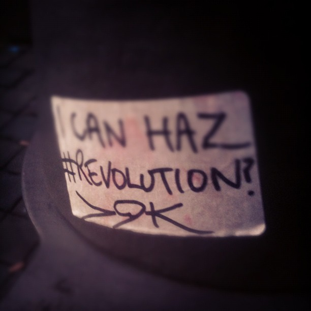 Sticker on a bench outside #marksandspencer in #manchester. #revolution (Taken with instagram)