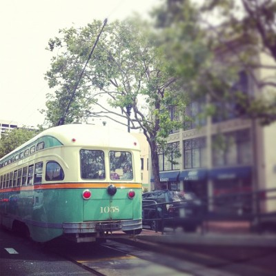 Love seeing old F train cable cars rolling down Market - San Francisco (Taken with instagram)