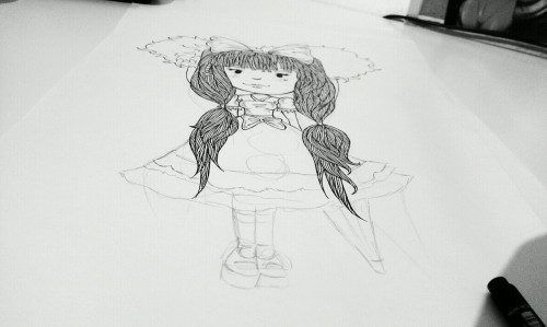 Working on a goth loli girl this evening. Just finished the first season of glee. Think I'm hooked!