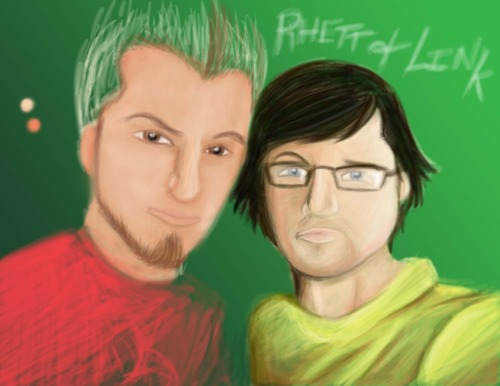 My work-in-progress. Portrait of Rhett and Link from YouTube.