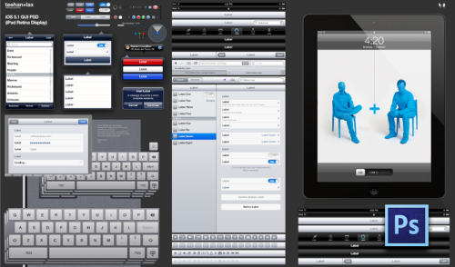9-bits:  Teehan+Lax have, at long last, released their Retina-ready iPad GUI PSD. Longtime readers will know that I normally post whenever Teehan+Lax release one of their Photoshop-based mobile UI sets, but this one is different: With the overall resolution in the new iPad, and some of the newer elements in iOS 5.1, the scale of this project was immense (as anyone following Geoff on Twitter already knows). It's also quite interesting that the file was made in and requires the Photoshop CS6 beta:  It's a free download right now and, in my humble opinion, one of the best releases of Photoshop to date. Its perfect pixel snapping, grouped layer styles and a few other features enabled us to create the assets with more accuracy, yet remain remarkably editable.  You'll have to download the PSD to see all of the detail and labor that must have gone into making it. Congrats to the team!