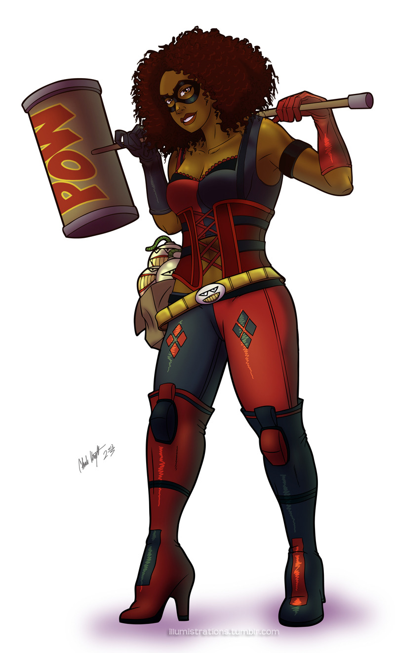 African American Harley Quinn (finished), original artwork. This took a little longer than expected since I'm still not 100% comfortable with inking on a tablet…but its getting there.
