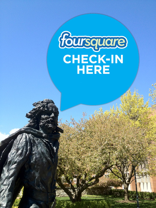 postmarq:  Happy foursquare day (4/16)! If you're at Marquette University, show your MU pride and check in at Father Marquette's statue today.  Father Marquette approves.