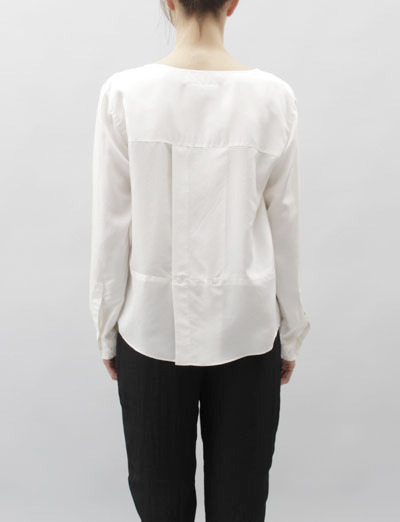 explosionspace:  MM6 Silk Button Down Blouse- Milk