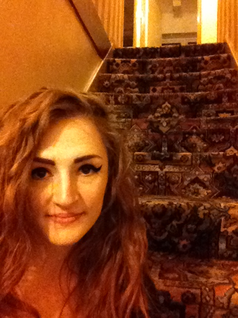Day 12: stairs. Me chilling on the stairs with my new iPad :) :) :)
