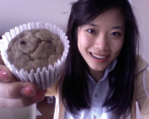 A virtual, freshly baked banana chocolate chip muffin goes out to anyone who guessed 17 as my age! :3  P.S. I'm posting the recipe for these later. THEY'RE HEALTHY AND DELISH.