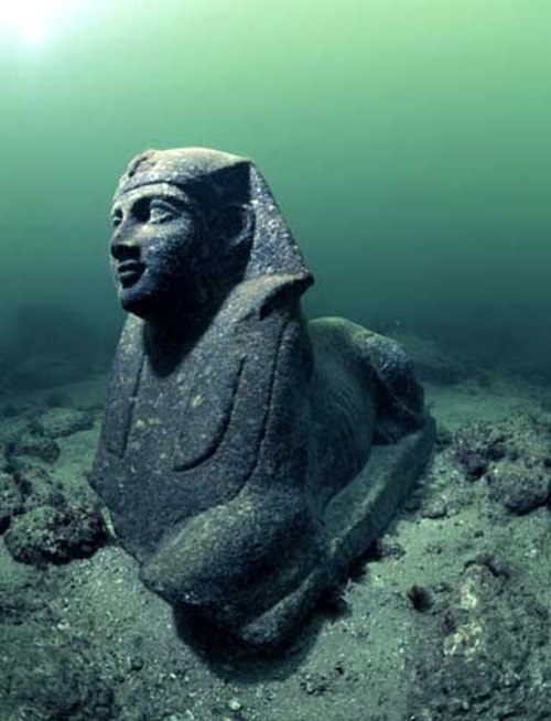 archaeologynotes:  Cleopatra's Kingdom, Alexandria, Egypt Lost for 1,600 years, the royal quarters of Cleopatra were discovered off the shores of Alexandria. A team of marine archaeologists, led by Frenchman, Franck Goddio, began excavating the ancient city in 1998. Historians believe the site was submerged by earthquakes and tidal waves, yet, astonishingly, several artifacts remained largely intact. Amongst the discoveries were the foundations of the palace, shipwrecks, red granite columns, and statues of the goddess Isis and a sphinx. The Egyptian Government plans to create an underwater museum and hold tours of the site.