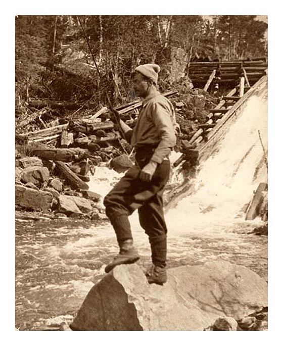 oldfishingphotos:  Tom Thomson Fishing in Ontario Ontario artist Thomson influenced a group of Canadian painters that would come to be known as the Group of Seven and was a expert outdoorsman and angler. He disappeared during a canoeing trip on Canoe Lake in Algonquin Park in 1917 and his body was discovered in the lake eight days later. While the official cause of death was accidental drowning, many still feel he was murdered.  Source: Archives of Ontario