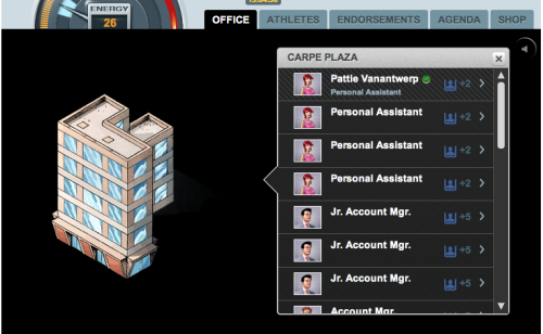 In OJO AGENT you build out a sports agency empire. When you add new buildings to your agency or upgrade the buildings you already have, you can add more staff members! More staff members means you can handle more clients who earn you more money!  Start building up your sports agency now! » apps.facebook.com/ojoagent