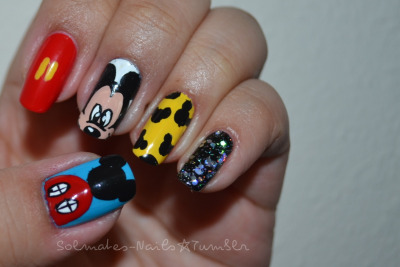 solmates-nails:  NOTW. Mickey Mouse Clubhouse edition. I was MIA last week but I'm back! I wish Seattle weather was more predictable. It was sunny earlier and I intended on taking a photo outside, but then it rained. Only in Seattle -___- So, I ended up using flash. Anyway, my youngest cousin turned 2 last week but his actual party is this weekend. He outgrew Elmo and is currently addicted to Mickey Mouse and he loves watching this show. So, I thought I'd do a manicure in honor of Carmine's birthday!