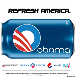 Refresh America. Barack Obama logo + Pepsi can