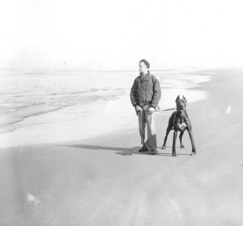 Coast Guard dog patrol, east coast, circa 1943.