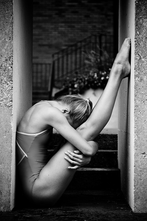 black-and-white:  dancer against concrete | by HowNowVihao
