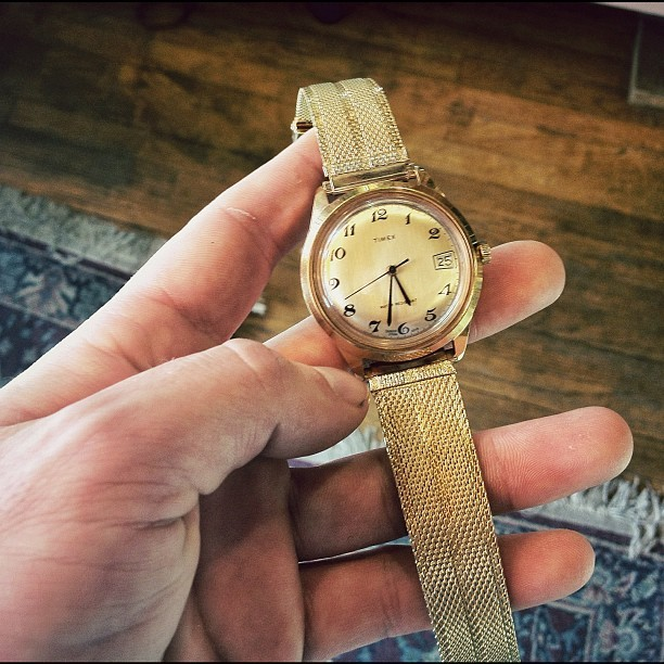 Just got a vintage Timex and stole a band from another watch. Boulder, CO antique come up! (Taken with instagram)