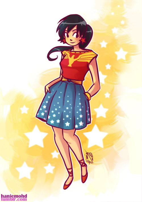 haniemohd:  After drawing Wonder Woman in a dress, it's only fitting that I draw one of Wonder Girl. (also I can't seem to kick out the Wonder Woman/ Wonder Girl themes from my head yet! and would you want to wear this dress? I would totally wear this dress.) Back to sifting through emails and work….graghhedit: this works as a skirt and blouse ensemble. I meant to say that instead of dress, now why did I say dress? Darn this late hours and bad TV shows scrambling up my brain XD———————————————————————- ARTWORKS Facebook Page  Truth be told, I think that I may actually love this redesign even more than Hanie's Wonder Woman dress! The boatneck top is a lovely interpretation of Donna's original boxy Wonder Girl tank top, while the full star-spangled skirt creates the perfect balance (and a flattering silhouette) for the entire look.