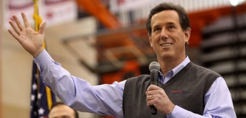 "collegehumor:  10 Things Rick Santorum Has Time to Do Now That He's Quit  1. Sew the sleeves back on his sweaters. 2. Start a rebuttal campaign against Dan Savage to make ""savage"" mean ""fierce, uncivilized, or rude."" Buy a dictionary. Declare himself successful. 3. Unclench a few muscles, maybe. 4. Finally send Rick Perry that ambiguously flirty email that's been in his drafts since last June. 5. Pull a series of ""Parent Trap""-style pranks to get Church and State back together.  Keep Reading  Hahaaaa"