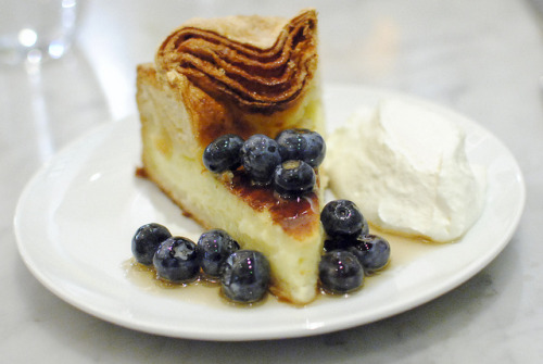 f-word:  vanilla custard tart with blueberries and fresh whipped cream photo by darin dines