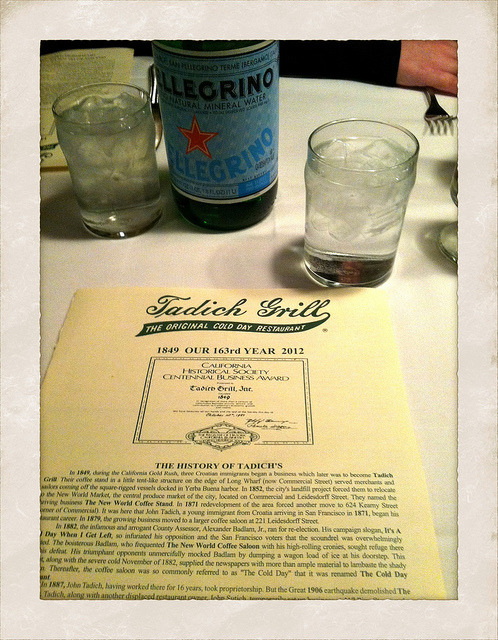 Dinner in SF on Flickr. Another place I miss in San Francisco: The Tadich Grill. I think some of the waiters have been there for at least 30 years, I know there are a few I recognize from my first visit in 1994. I could go for one of those huge Cosmopolitan salads — Dungeness Crab, Bay Shrimp, Prawns — with a cup of their fabulous chowder right about now. The bartenders are great fun to talk to as well. Get there early (opens for dinner at 5:30) or be prepared to wait or sit at the counter, which is a lot of fun too.
