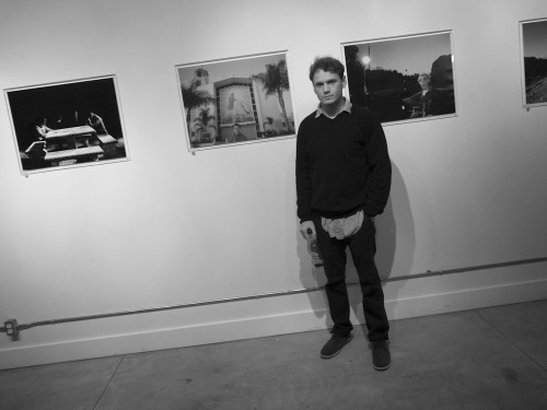 Actor/photographer Anton Yelchin last night at his exhibition last night at Dilettante. There was a silent auction benefitting The Trevor Project.  Bullett Magazine hosted. Flashbulbs going off everywhere!  Photo by Brad Elterman