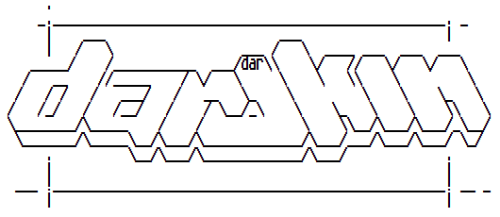 ASCII art old school #demoscene style _although readable_ ;)  Darokin logo - Amiga font