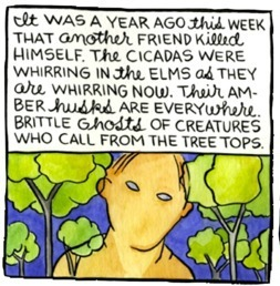 "From Lynda Barry's One! Hundred! Demons!, demon thirteen, ""Cicadas,"" 2005."