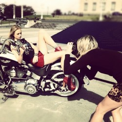 Here's a behind the scenes peek of LAURA ALLARD-FLEISCHL shooting LAURA NICHOLSON for an upcoming project. How sick is the HARLEY!?