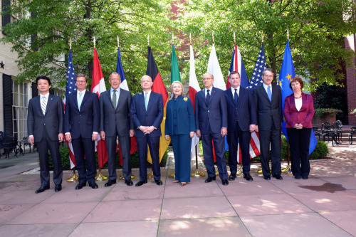 U.S. Secretary of State Hillary Rodham Clinton poses with her G8 counterparts for the G8 Foreign Ministers Meeting at the Blair House in Washington, D.C. on April 11, 2012.