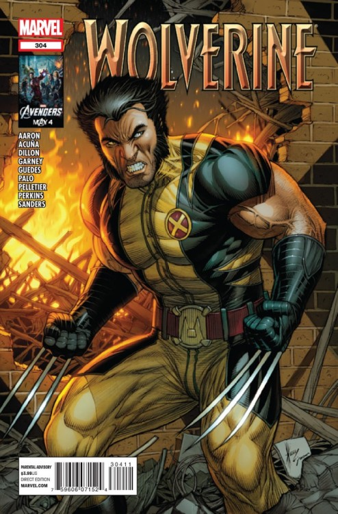 Wolverine v2 #304, June 2012, written by Jason Aaron, penciled by Daniel Acuna, Steve Dillon, Ron Garney, Renato Guedes, Jefte Palo, Paul Pelletier, Mike Perkins and Steve Sanders