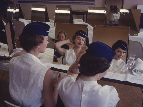 1950sunlimited:  Flight Attendants in training 1958 these young women are learning grooming techniques at flight attendant college  in texas.