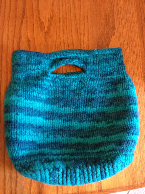 Love my new felted bag. This is KnitPicks Wool of the Andes hand dyed held double. Love how the colors pooled!